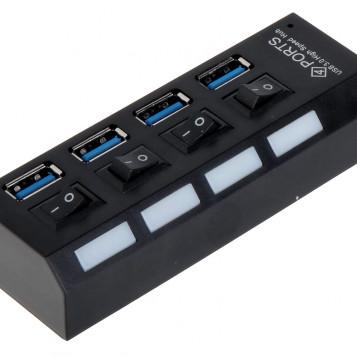 Rozdzielacz USB 3.0 4w1 HUB z przełącznikami