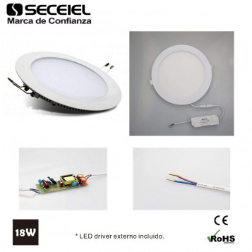 Plafon LED lampa sufitowa wpuszczana Seceiel 6400K 18W 5A