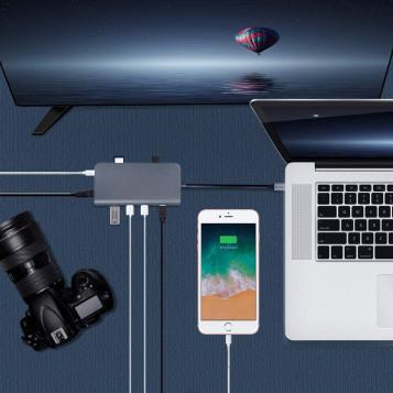 HUB rozdzielacz rozgałęźnik Cofuture 8w1 USB-C RJ45 HDMI USB microSD SD